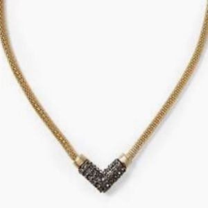 Pavé Chevron Pendant Necklace in Gold and Gunmetal